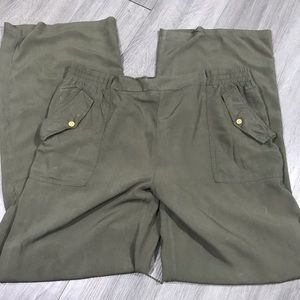 Hype Olive Green Flowing Rayon Pull-on Slacks